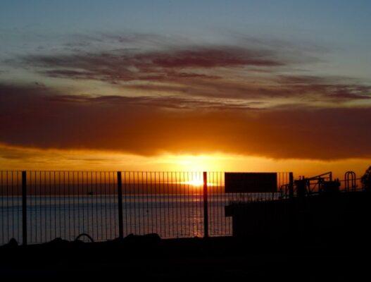 Por-do-sol antes de entrarmos no ferry